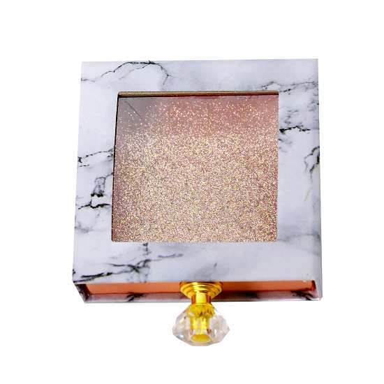 square marble drawer lashes packaging with handle
